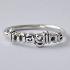 Imagine Sterling silver Stack ring with Poetic/Inspirational word, jewelry, The Beatles, Novelty, Valentines day gift, Inspiration and goals by HeartCoreDesign on Etsy https://www.etsy.com/listing/130083959/imagine-sterling-silver-stack-ring-with