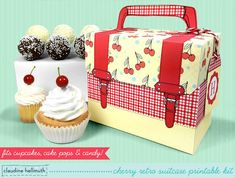retro cherry cake pop and cupcake box  holds by claudinehellmuth