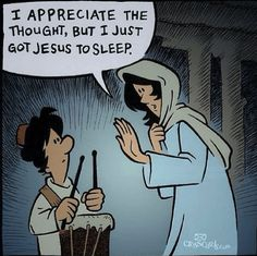 Mary and the little drummer boy | Christian Funny Pictures - A time to laugh Christian Cartoons, Christian Jokes, Funny Cartoons, Funny Comics, Funny Memes, Funny Sayings, Bible Cartoon, The Little Drummer Boy, Church Humor