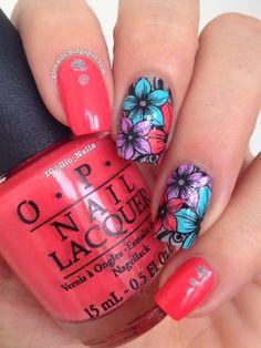 Exotic floral nail design.