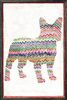 Frenchie With Zig Zags Art Print - SugarBoo Designs