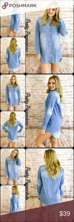 "NWT Distressed Washed Denim Blue Shirt Dress Tunic NWT Distressed Washed Denim Blue Shirt Dress Tunic  Available in S, M, L Measurements taken from a small  Length: 30"" Bust: 36"" Waist: 38""  Cotton Blend   Features  • distressed washed fabric detail • button down front • long sleeves w/button tab to shorten length • soft, breathable material  • relaxed, easy fit  Bundle discounts available  No pp or trades  Item # 1/202100390DSD shirt dress distressed washed long sleeves Pretty Persuasions…"
