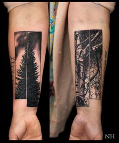 Another creative idea with these two tree tattoos by Nicholas Hart...