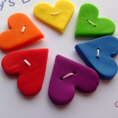 Rainbow Heart Buttons