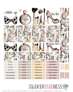 Free Printable Feminine Planner Stickers from StickerCuteness make up brushes, perfume bottled and high heels pastel colours Mini Happy Planner, Free Planner, Planner Ideas, Planner Tabs, Planner Supplies, Printable Planner Pages, Printable Stickers, Free Printables, Bujo