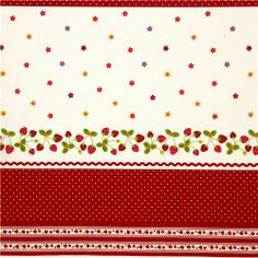 cute fabric with strawberry flowers