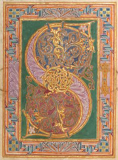 illuminated manuscript from Germany (letter S) - Gero Codex, 969 AD, for Archbishop Gero of Cologne. Medieval Manuscript, Medieval Art, Renaissance Art, Illuminated Letters, Illuminated Manuscript, Celtic Art, Celtic Dragon, Book Of Kells, Historical Art