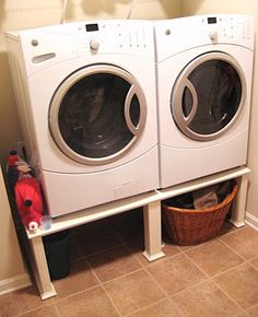 Savvy Chic Home: Washer and Dryer Stand Reveal Washer And Dryer Stand, Washer And Dryer Pedestal, Garage Laundry Rooms, Basement Laundry, Doing Laundry, Love Your Home, Diy Storage, Basket Storage, Home Repairs