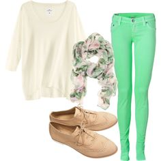 Spring outfit.. White sweater, seafoam green skinnies, floral scarf, without the oxfords