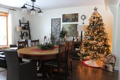 First Christmas in our new home First Christmas, Christmas Tree, New Homes, Dining Table, Holiday Decor, House, Furniture, Home Decor, Teal Christmas Tree