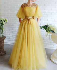 Romantic Prom Dresses Ball Gown,Unique long prom dress,cute off the shoulder evening dress - Evening Dresses Ball Dresses, Ball Gowns, Evening Dresses, Formal Dresses, Yellow Wedding Dresses, Modest Prom Dresses, Quince Dresses, Pageant Dresses, Dresses Dresses