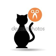 Sagoma gatto pet forbici icona — Illustrazione stock #130132542