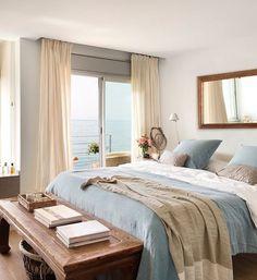 Dormitorio en tonalidades beige y azul