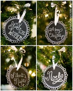 Chalkboard Tags turned Christmas ornaments. Easy peasy and super cute!