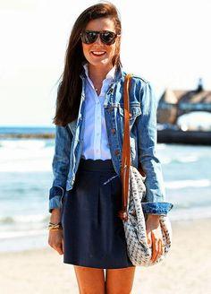 Jacket:Gap Shirt:Madewell Skirt:J.Crew (similar) Shoes: Tory Burch Bag: Anthropologie Bracelets: Kiel James Patrick, Asha c/o Glasses:Persol