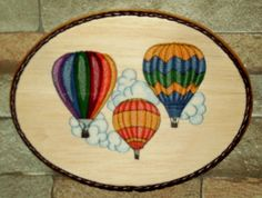 Hot Air Balloon Fest #1 Handmade Multi-Color Wall Decor/Embroidery on Balsa Wood #Handmade #Modern