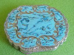 Unusual Dreamy Antique 800 Silver Italy Turquoise Enamel Compact Vintage Saks | eBay