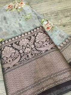 Banaras linen silk sarees with blouse. These sarees designed with banaras silk fabric with digital floral print with big border with blouse.