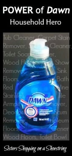 Cut your costs and outperform expensive cleaners with Dawn! Many step-by-step directions to clean your home! Click through to read more. Sisters Shopping on a Shoestring Best Thrifty Tips Homemade Cleaning Products, Household Cleaning Tips, Cleaning Recipes, Natural Cleaning Products, Cleaning Hacks, Cleaning Supplies, Household Cleaners, Cleaning Schedules, Household Products