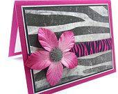 Birthday Card for Her, Animal Print Card, Handmade Greeting Card, Zebra Card, Celebrate Card, Bridal Shower Card, Bachelorette Card