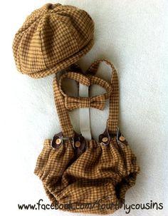 Baby Boy Diaper Cover Suspenders and Bow tie. Precious!!