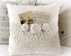 crochet embellished pillow