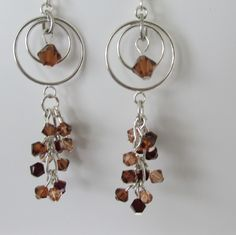 Double hooped topaz and silver earrings