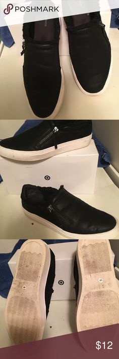 Slip on with side zipper that's not useable. Black Style&co with fur inside. Like new Style & Co Shoes Flats & Loafers