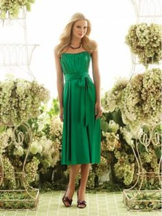 Strapless Belt Sleeveless Knee-length Chiffon