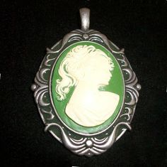 Steampunk and Pantone Color of the Year 2013 Emerald Green  http://www.ebay.com/itm/Steampunk-Vintage-Victorian-Sage-Green-Cameo-Antiqued-Silver-Pendant-Jewelry-/360550604680?pt=Vintage_Costume_Jewelry=item53f27d9f88