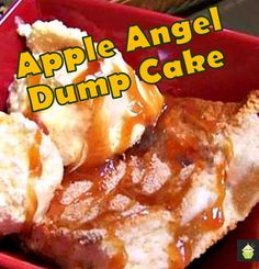Easy Apple Angel Dump Cake, so delicious with a blob or two of ice cream! Oven or slow cooker, you choose!  #cake #baking #Dumpcake