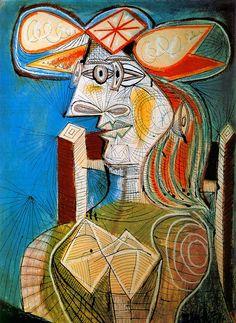 1938  Picasso  Femme assise  Gouache, crayon de couleur et encre sur papier  76,5x55 cm. #Cubismo #Art @deFharo