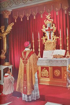Bishop Fulton Sheen celebrating Mass in his private chapel at his residence in NYC.