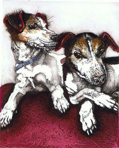 Julia Manning | Somerset Artist & Printmaker| Prints | Page   They remind me of our old dogs Sal and Peps