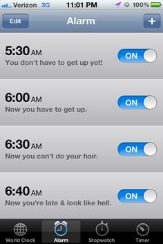 Alarms. Very relatable.