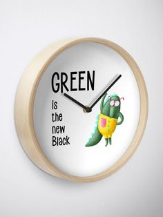 Green is the new Black Clock. Modern printed polypropylene with plexiglass face  Bamboo wood frame with natural finish or painted black or white  4 customizable metal hand colors to choose from  Quartz clock mechanism (AA battery not included)  Built in hook at back for easy hanging Black Clocks, Quartz Clock Mechanism, Animal Design, Hand Coloring, Funny Animals, Bamboo, It Is Finished, Art Prints, Printed