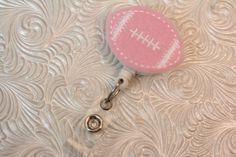 adorable football -  professional nursing badge holder - retractable - badge reel - badge clip - name badge holder - felt badge reel