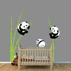 Asian Nursery Panda Bear Wall Decal, Bamboo Wall Sticker, Repositionable, Reusable