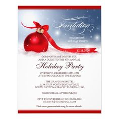 christmas ornament red bow dinner party card  silver ornaments, invitation samples