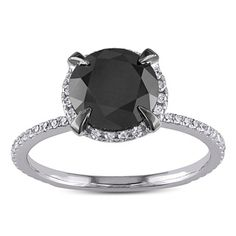 Shop for 10k White Gold 2 3/4ct TDW Black and White Halo Diamond Solitaire…