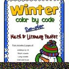 Freebie! - This is a winter-themed color by code sampler packet of math and literacy skills for K-1.  Included in this packet are 5 pages of color by codes wi...