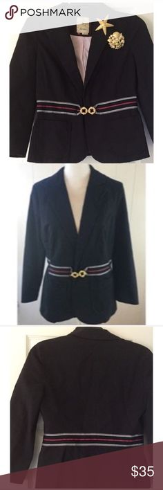 Anthropologie Elevenses Navy Striped Blazer 0 Super cute military style navy blue jacket in excellent condition with grosgrain ribbon belted trim. 98% Cotton 2% Spandex. ***The Two Brooch pins are not included in this sale. Sale is for only the Blazer* Anthropologie Jackets & Coats Blazers