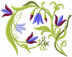 Bells flowers free machine embroidery design. Machine embroidery design. www.embroideres.com