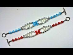 Two beautiful beaded simple bracelet -1pattern. DIY elegant pearl bracelets - YouTube