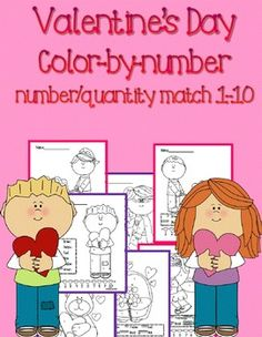 This fun Valentine's Day themed color by number/quantity match pack comes with 15 printable pages of color by number fun!
