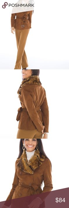 """Chico's Faux-Suede Collared Jacket NWT. 12/14 Chico's Faux-Suede Collared Jacket. NWT. Retail: $169.00 Chico's Size : 2 = 12/14 L. Structure your day around this softly tailored jacket with a cropped trench-coat styling.  (It has a faux-fur collar, people. A faux-fur collar.) Long sleeves. Self-fabric tie belt. Wow, what's not to love about it? It is a shorter jacket with style!  This jacket will complement any outfit.  length: 25"""". Polyester.  Dry clean.  Imported Chico's Jackets & Coats…"""