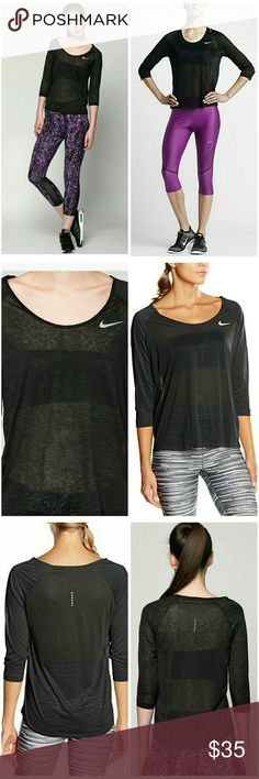 NEW Nike Dri-fit Cool Breeze 3/4 Running Top Women's Running Three-Quarter Sleeve Top Nike Dri-FIT Cool Breeze Women's Running Three-Quarter Sleeve Top keeps you dry, cool, and comfortable with super lightweight Dri-FIT fabric. An open boat neck and a 3/4-sleeve design help you hit your stride in flattering coverage.  Semi-translucent Dri-FIT fabric wicks sweat for dry, cool comfort. 3/4 length raglan sleeves provide coverage without limiting range of motion. Relaxed fit with a dropped back…