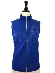 NEW CHICO'S Size 1 = 8/10 Zenergy Neema Embossed Vest Blue Women's Light NWT #Chicos