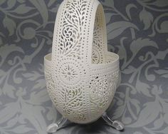 Hand Carved Victorian Lace Goose Egg by theNestatWindyCorner, $110.00