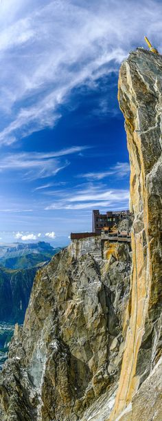 The Aiguille du Midi is a mountain in the Mont Blanc massif within the French Alps